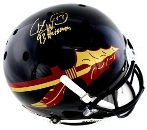 "Charlie Ward Signed Florida State Seminoles Schutt Black Full Size NCAA Helmet With ""93 Heisman"" Inscription-0"