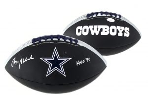 "Roger Staubach Signed Dallas Cowboys Embroidered NFL Black Football With "" HOF 85"" Inscription-0"