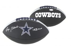 "Roger Staubach Signed Dallas Cowboys Embroidered NFL Black Football With ""SB VI MVP"" Inscription-0"