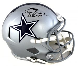 "Roger Staubach Signed Dallas Cowboys Full Size NFL Speed Helmet With ""SB VI MVP"" Inscription-0"
