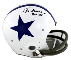 "Roger Staubach Signed Dallas Cowboys TK Suspension NFL White Helmet With ""HOF 85"" Inscription-0"