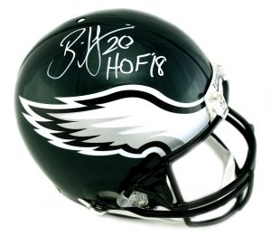 """Brian Dawkins Signed Philadelphia Eagles Riddell Authentic Full Size NFL Helmet With """"Last to Weear #20"""" Inscription-0"""
