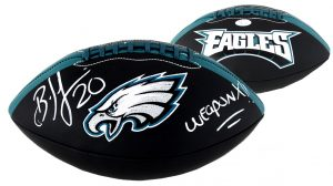 "Brian Dawkins Signed Philadelphia Eagles Embroidered NFL Black Football With ""Weapon X!!"" Inscription-0"