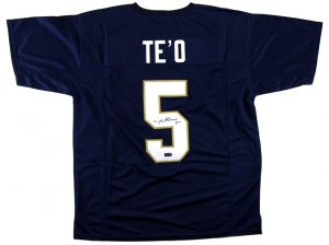 Manti Te'o Signed Notre Dame Custom Navy Jersey-0
