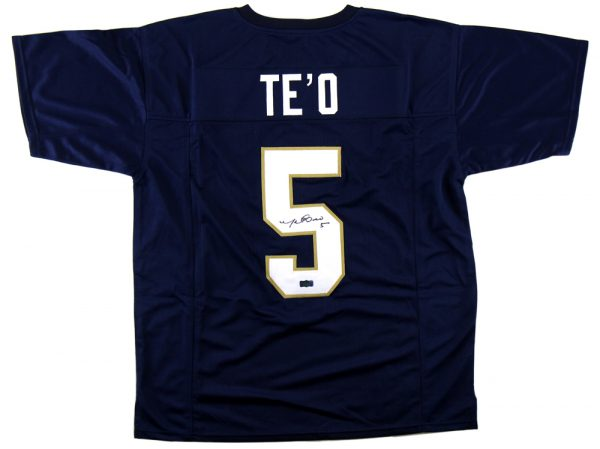Manti Te'o Signed Notre Dame Custom Navy Jersey-0