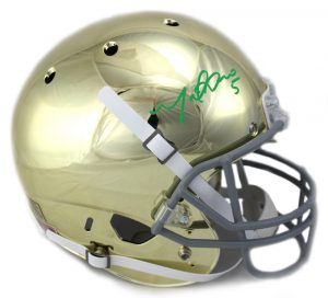 Manti Te'o Signed Notre Dame Fighting Irish Schutt NCAA Full-Size Chrome Helmet-0
