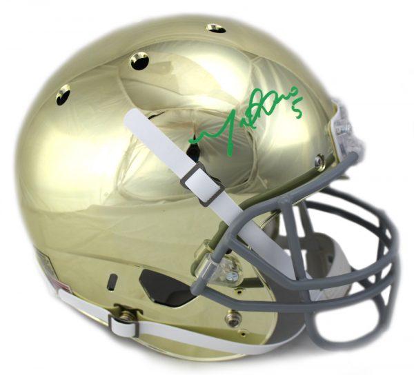 Manti Te'o Signed Notre Dame Fighting Irish Schutt NCAA Full-Size Chrome Helmet-0