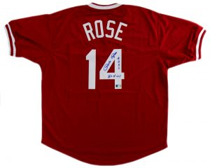 "Pete Rose Autographed/Signed Cincinnati Reds Red Custom Jersey with ""Hit King 4256"" Inscription-0"