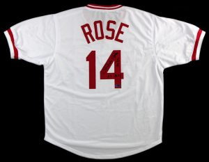 "Pete Rose Autographed/Signed Cincinnati Reds White Custom Jersey with ""63 Roy"" Inscription-0"