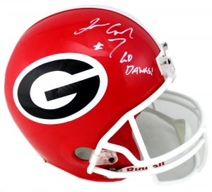 "Lorenzo Carter Signed Georgia Bulldogs Riddell Full Size NCAA Helmet With ""Go Dawgs!"" Inscription-0"