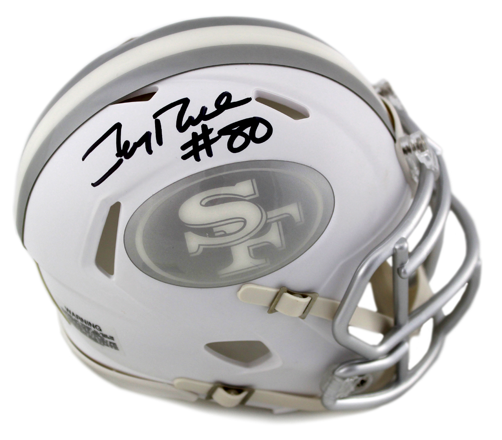 e1e3c278f12 Jerry Rice Signed San Francisco 49ers Riddell NFL Speed ICE Mini Helmet-0