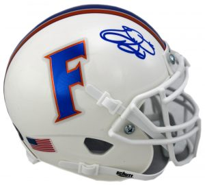 Emmitt Smith Signed Florida Gators Schutt White NCAA Mini Helmet -0