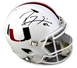 Ray Lewis Signed Miami Hurricanes Riddell Authentic Full Size NCAA Speed White Helmet-0