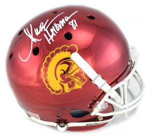"Marcus Allen Signed USC Trojans Full Size NCAA Chrome Helmet With ""Heisman 81"" Inscription-0"