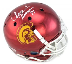 "Marcus Allen Signed USC Trojans Full Size NCAA Authentic Chrome Helmet With ""Heisman 81"" Inscription-0"