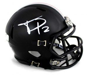 Terrell Pryor Signed Ohio State Buckeyes Riddell NCAA Black Mini Helmet-0