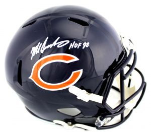 "Mike Singletary Signed Chicago Bears Riddell Full Size NFL Speed Helmet with ""HOF 98"" Inscription-0"