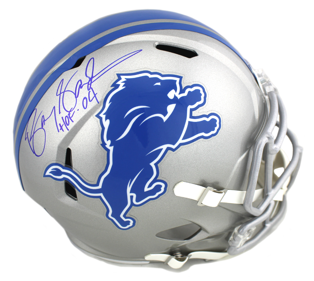 superior quality 68daf 70445 Barry Sanders Signed Detroit Lions Riddell NFL Full Size Speed Helmet With