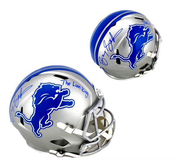 """Barry Sanders Signed Detroit Lions Full Size NFL Speed Helmet With """"The Lion King"""" Inscription-0"""