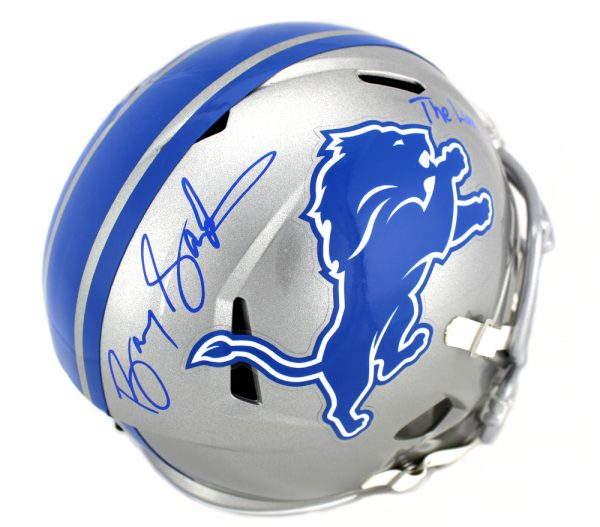 """Barry Sanders Signed Detroit Lions Full Size NFL Speed Helmet With """"The Lion King"""" Inscription-29895"""