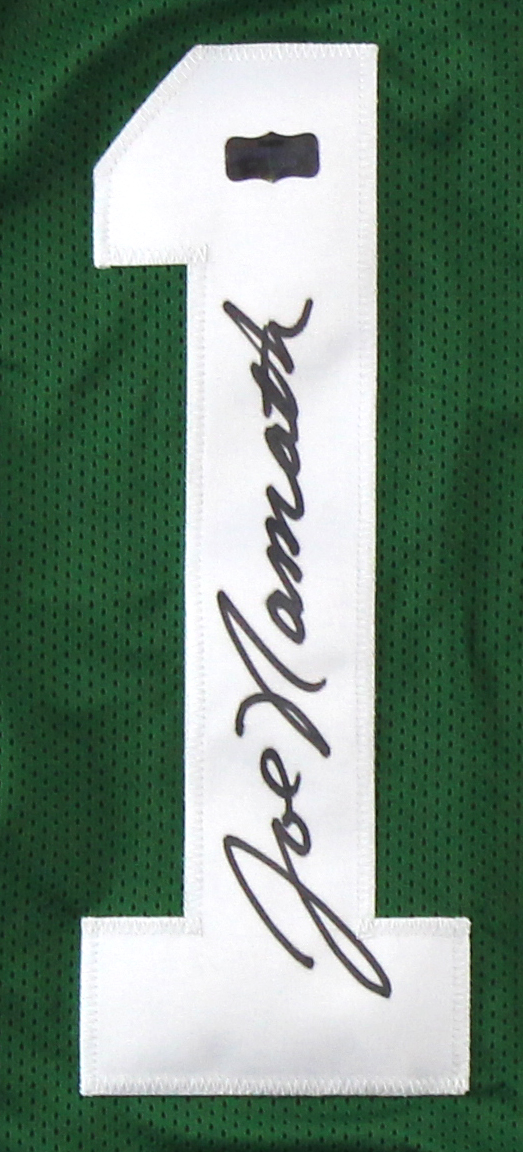 factory authentic 7d18a af0d5 Joe Namath Signed New York Custom Stat Green Jersey