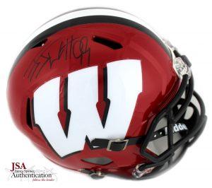 J.J. Watt Signed Wisconsin Badgers Full Size NCAA Speed Red Helmet-0