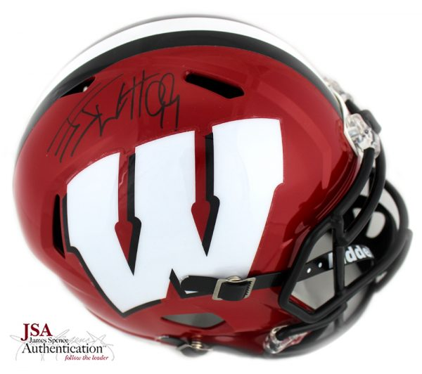 J.J. Watt Signed Wisconsin Badgers Full Size NCAA Speed Red Helmet-0