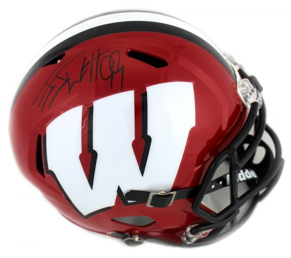 J.J. Watt Signed Wisconsin Badgers Full Size NCAA Speed Red Helmet-32477