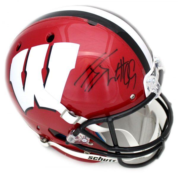 J.J. Watt Signed Wisconsin Badgers Schutt Full Size NCAA Red Helmet-32470