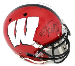 J.J. Watt Signed Wisconsin Badgers Schutt Authentic Full Size NCAA Red Helmet-0