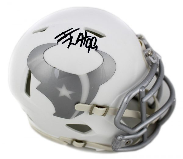J.J. Watt Signed Houston Texans NFL Ice Mini Helmet-0