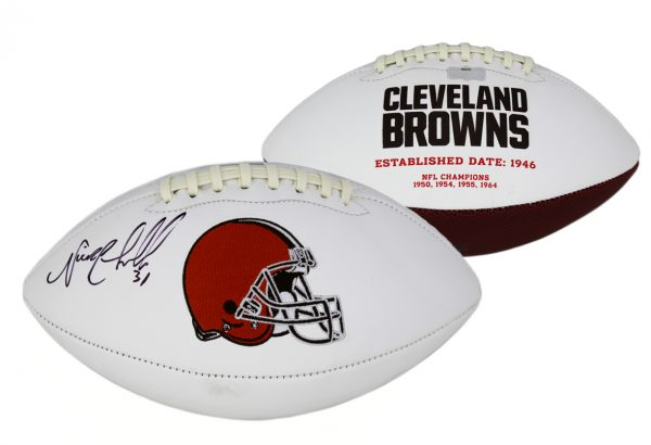 Nick Chubb Signed Cleveland Browns Embroidered NFL Football-0