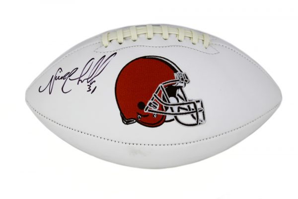 Nick Chubb Signed Cleveland Browns Embroidered NFL Football-32763