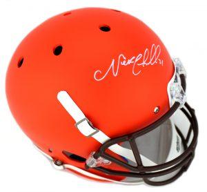 Nick Chubb Signed Cleveland Browns Schutt NFL Full Size Orange Helmet-0