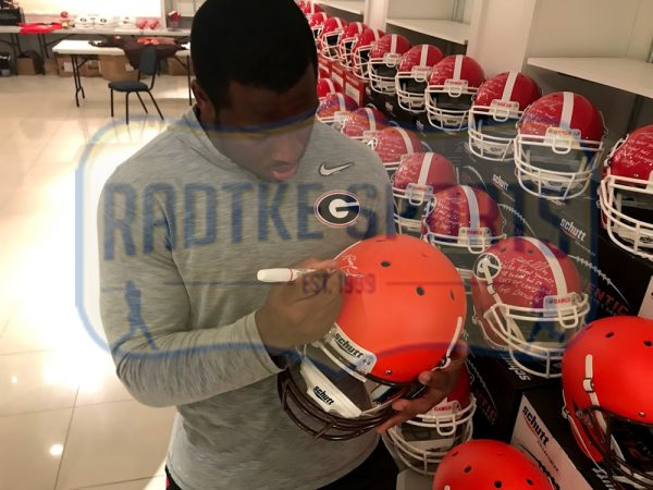 Nick Chubb Signed Cleveland Browns Schutt NFL Full Size Orange Helmet-32765
