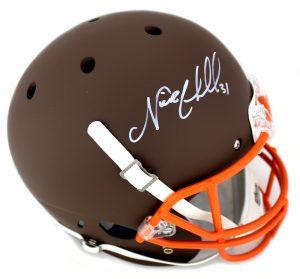Nick Chubb Signed Cleveland Browns Schutt NFL Full Size Brown Helmet-0