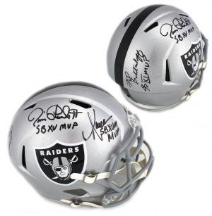"Marcus Allen, Jim Plunkett, Fred Biletnikoff Signed Oakland Raiders Speed Helmet With ""SB MVP"" Inscription-0"