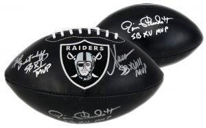 "Marcus Allen, Jim Plunkett, Fred Biletnikoff Signed Oakland Raiders Embroidered Black Football With ""SB MVP"" Inscription-0"