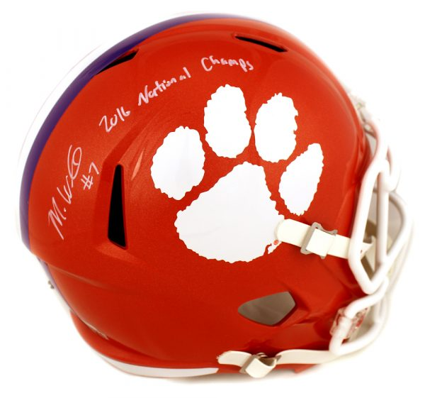 "Mike Williams Signed Clemson Tigers Schutt Full Size Speed Helmet With ""2016 National Champs"" Inscription-0"