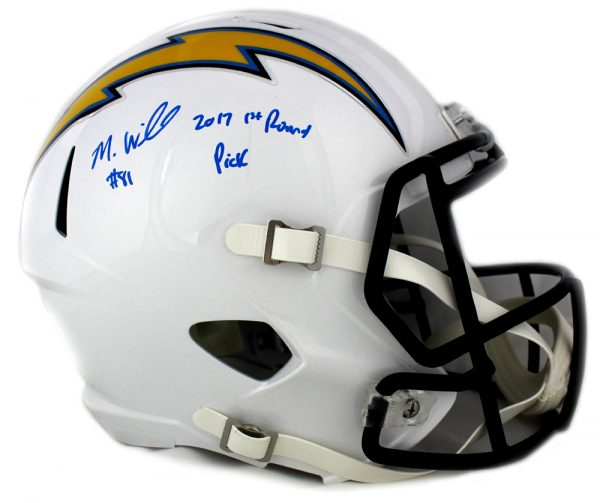 """Mike Williams Signed Los Angeles Chargers Riddell Full Size Speed Helmet With """"2017 1st Round Pick"""" Inscription-0"""