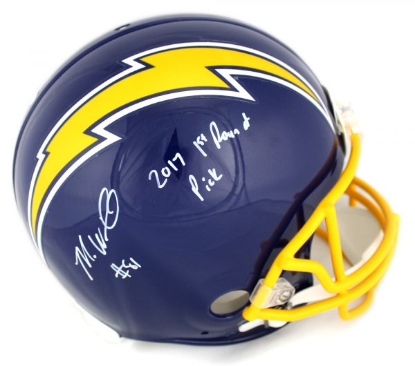 """Mike Williams Signed Los Angeles Chargers Riddell Throwback Full Size Authentic Blue Helmet With """"2017 1st Round Pick"""" Inscription-0"""
