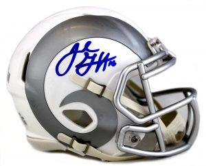 Jared Goff Signed Los Angeles Rams Riddell Ice Speed NFL Mini Helmet-0
