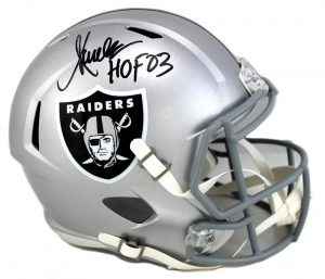 "Marcus Allen Signed Oakland Raiders Full Size Speed Helmet With ""HOF 03"" Inscription-0"