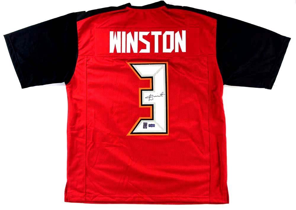 save off dad91 6c37b Jameis Winston Signed Tampa Bay Buccaneers Red Custom Jersey