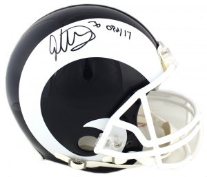 "Todd Gurley Signed Los Angeles Rams Riddell Authentic NFL Helmet With ""OPOY 17"" Inscription-0"