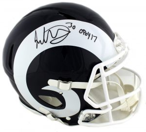 "Todd Gurley Signed Los Angeles Rams Riddell Authentic Speed NFL Helmet With ""OPOY 17"" Inscription-0"