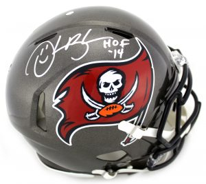 "Derrick Brooks Signed Tampa Bay Buccaneers Riddell NFL Authentic Full Size Throwback (1997-2013) Speed Helmet With ""HOF 2014"" Inscription-0"