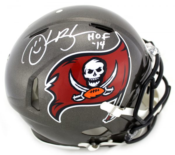 """Derrick Brooks Signed Tampa Bay Buccaneers Riddell NFL Authentic Full Size Throwback (1997-2013) Speed Helmet With """"HOF 2014"""" Inscription-0"""