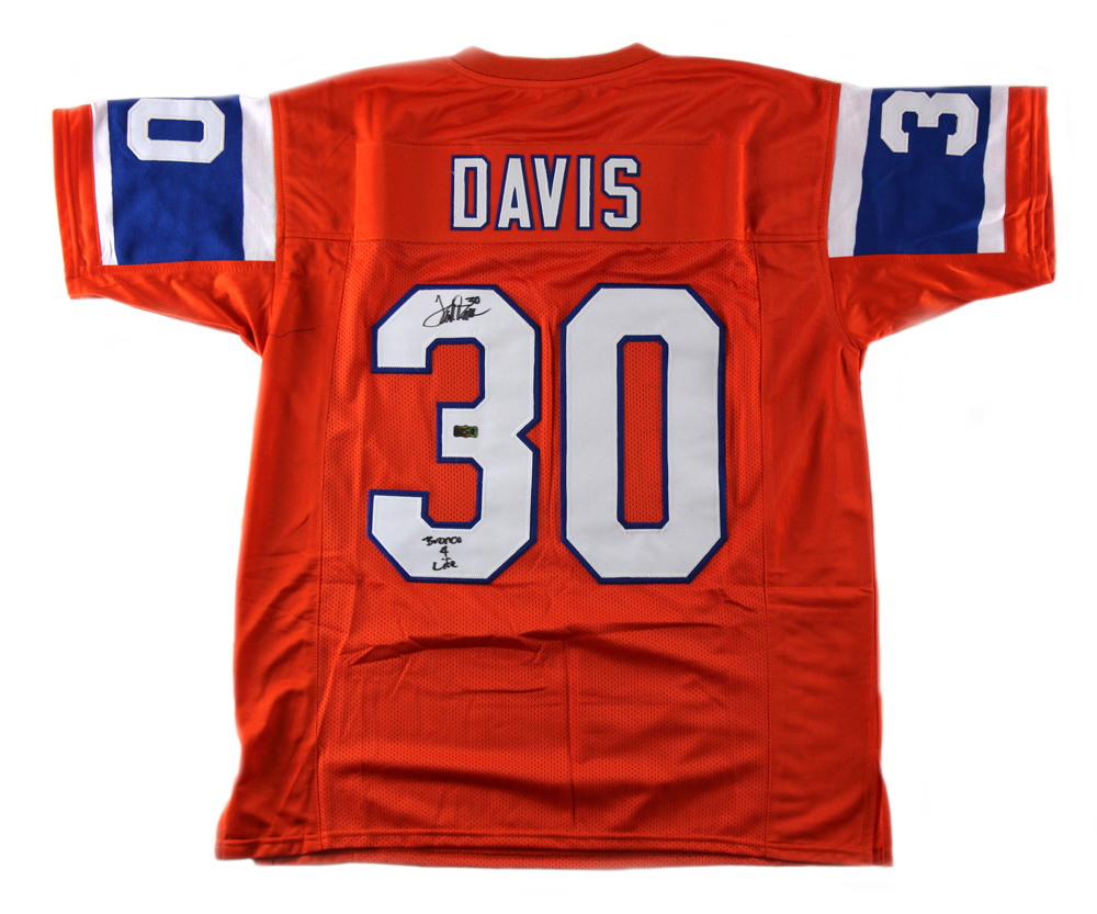 sale retailer 51f46 e0066 Terrell Davis Signed Denver Throwback Custom Orange Jersey with