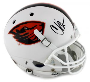 Chad Johnson Signed Oregon State University Beavers NCAA Schutt Full Size White Helmet-0